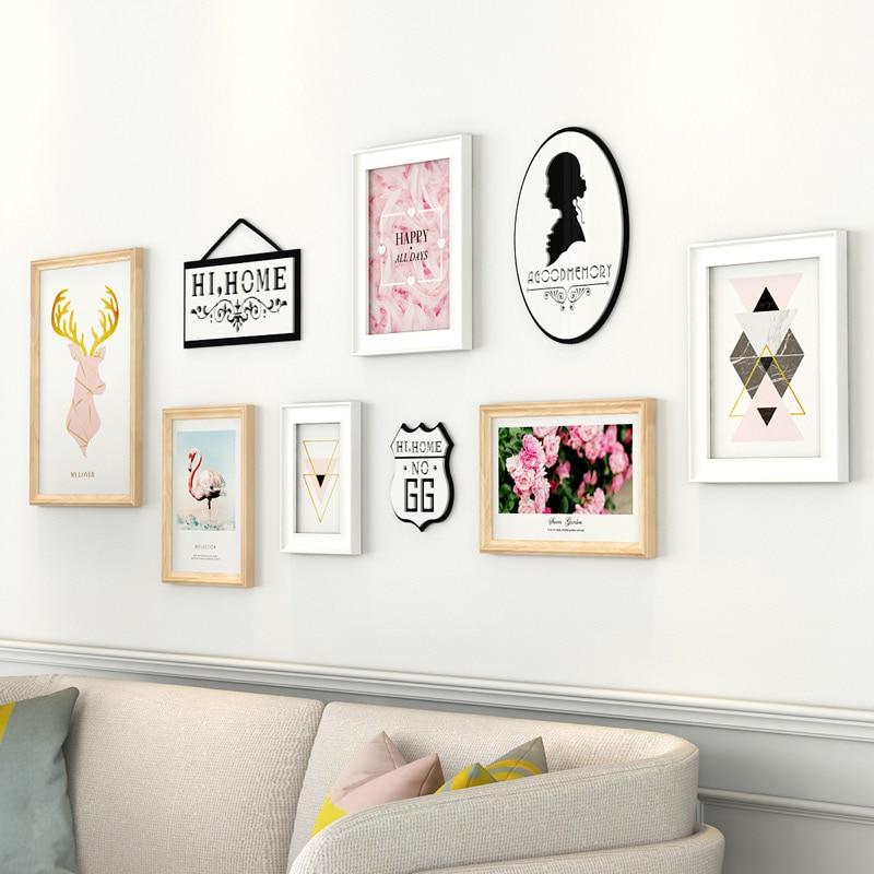 6 pièces rose fleur motif tenture murale cadre Photo ensemble blanc Bollywood Photo cadre costume en bois cadres Photo pour la décoration intérieure
