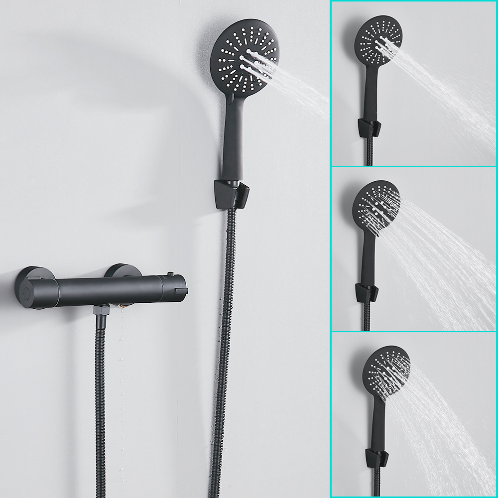 Europe Style Black Shower Faucet Set Bathroom Copper Bathroom Set With Hand Shower Head Bathtub Mixer For Cold And Hot