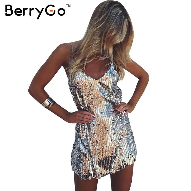 BerryGo Sexy paillettes argento vestito delle donne Profondo Scollo a v senza maniche corto abito Elegante partito di sera abiti casual estate abiti