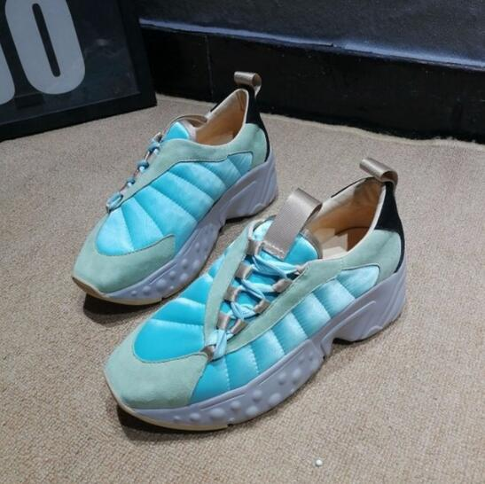 Marée Lace Appartements Chaude 2018 Ins Piste Designer Femme Casual Sneakers Up Plate Confortable forme Maille Chaussures 7Ybygvf6