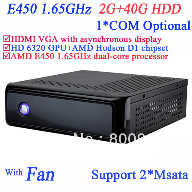 mini itx htpc home theater pcs with AMD Radeon HD6320 graphic AMD Hudson D1 chipset AMD E450 1.65GHz 2G RAM 40G HDD SECC chassis