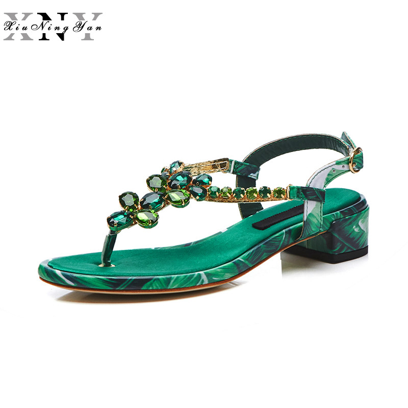 XiuNingYan Fashion Patent Leather Summer Shoes Woman 2018 Gladiator Sandals Rhinestone Square Heel Open Toe Women Office Shoes