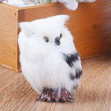 5*4.5*7cm for Home Decor Gift White Black Furry Christmas Kiwarm Cute Lovely Owl Bird Ornament Decoration Adornment Simulation(China)