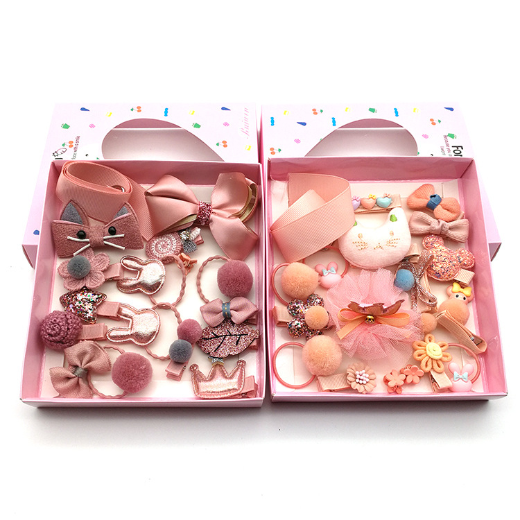 New children's hairpin hair accessories 18-piece gift box Korean baby hair rope does not hurt the hairpin hairpin bow