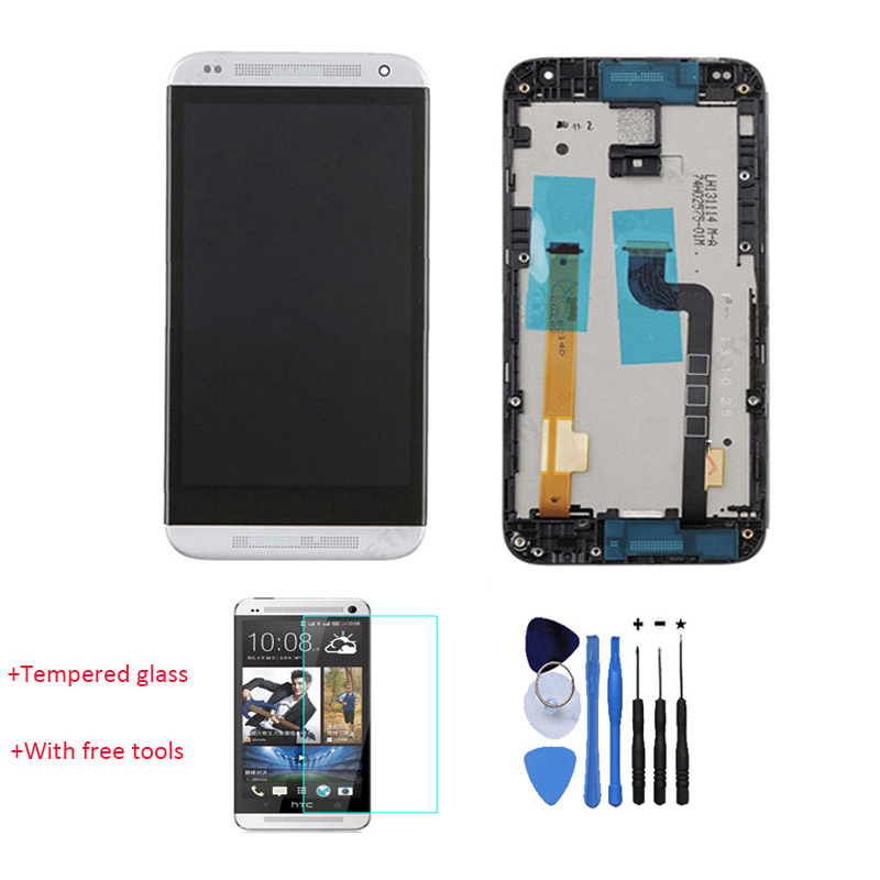 ФОТО New 100% Test LCD Display Touch Screen Digitizer With Front Housing For HTC Desire 601 White With Free Tools + Tempered Glass