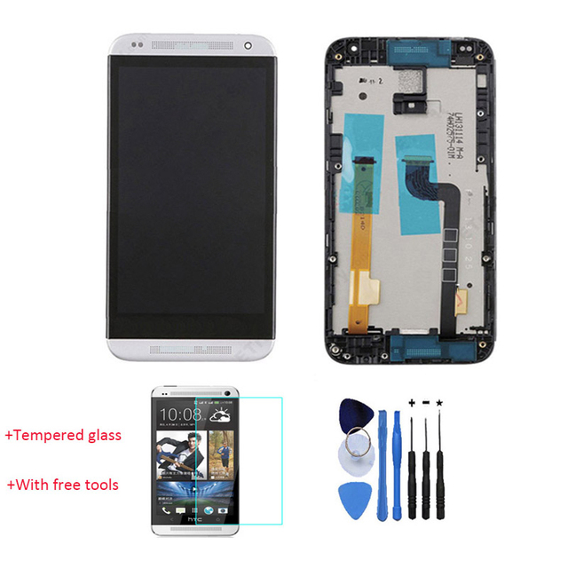 New 100% Test LCD Display Touch Screen Digitizer With Front Housing For HTC Desire 601 White With Free Tools + Tempered Glass