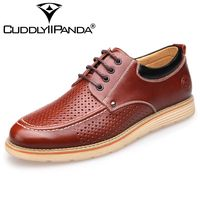 CUDDLYIIPANDA 2018 Men Genuine Leather Shoes Summer Breathable Comfort Hole Luxury Brand Flat Casual Shoes For