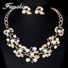 FAMSHIN Elegant Simulated Pearl Bridal Jewelry Sets Wedding Jewelry Leaf Crystal Flower Silver Gold Color Necklaces Earrings Set(China)