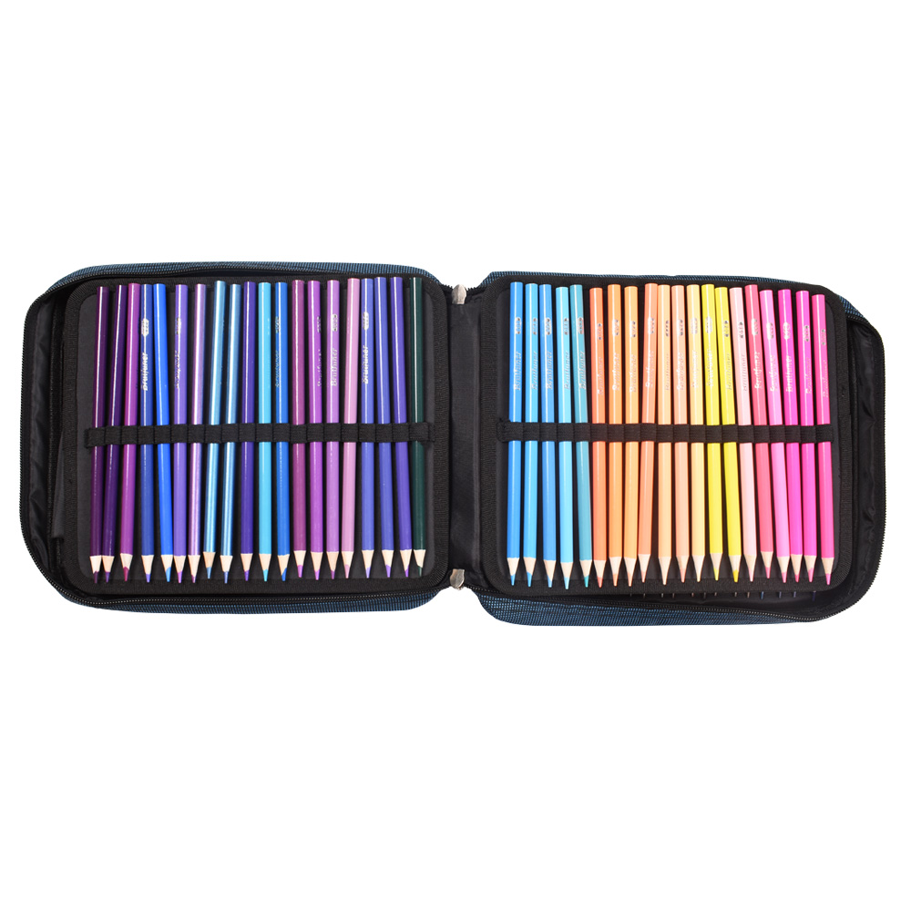 Image 4 - Protable 4 Layers 120 Slots Canvas Pencil Bag Gel Pens Holder Large Capacity Pencil Case Art School SuppliesPencil Bags   -