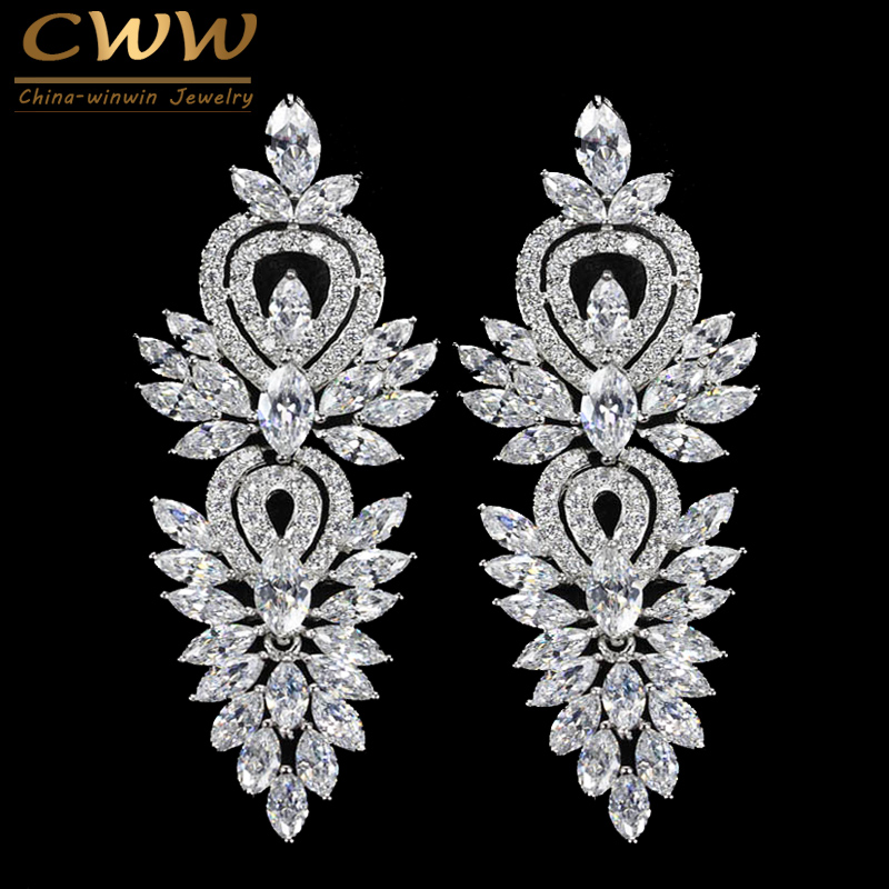 CWWZircons Vintage Wedding Party Jewelry Accessories Gorgeous Cubic Zirconia Big Long Luxury Bridal Earring For Women