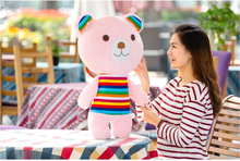 new lovely big plush pink teddy bear toy cute stripe clothes teddy bear doll gift about 70cm