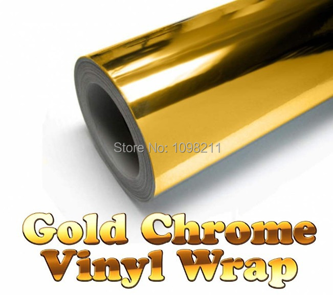 300mm x 1520mm Golden Gold Chrome Air Free Mirror Vinyl Wrap Film Sticker Sheet Decal 12x60 Adhesive Emblem Car styling