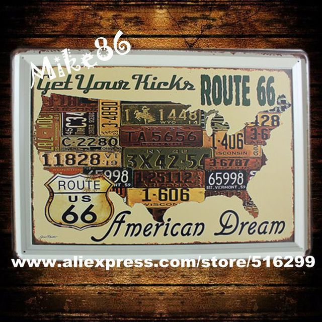 Mike86 30x40 Cm Route 66 Usa Map Metal Plaque Art Vintagecafe Bars House Of