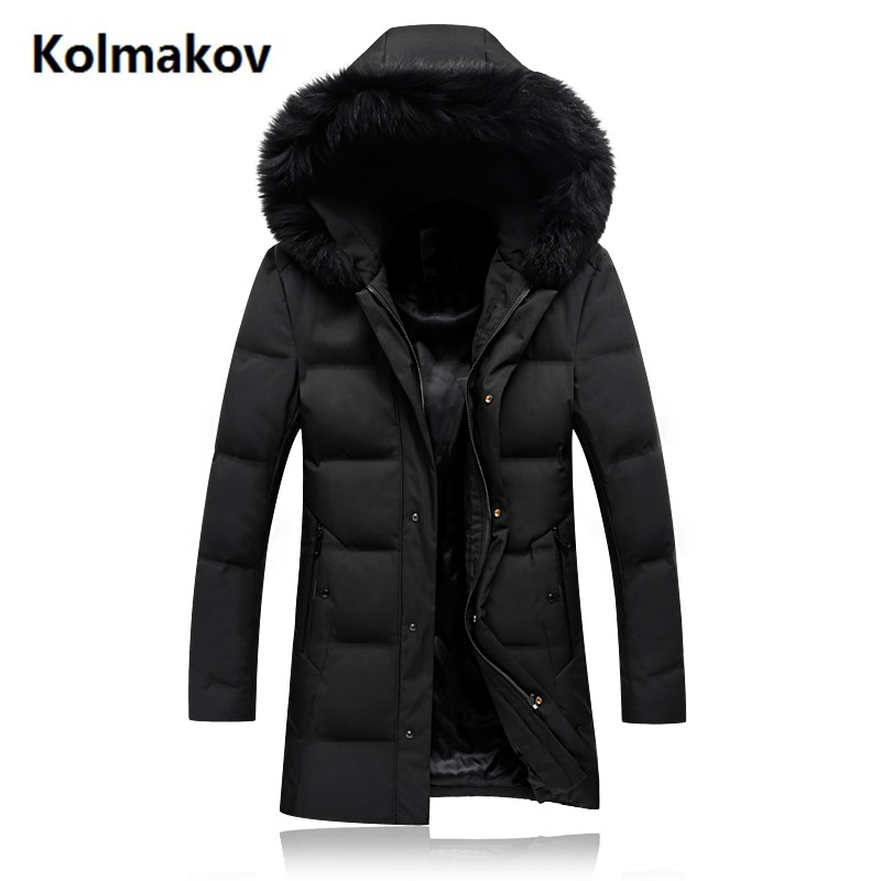 2017 winter Mens fashion casual hooded Fox collars 90% white duck down down jacket Parkas Mens Winter jackets, men coats