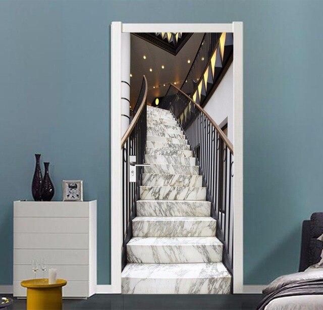 Free shipping Luxury stairs Door Wall Stickers DIY Mural Bedroom Home Decor Poster PVC Waterproof Door Sticker 77x200cm