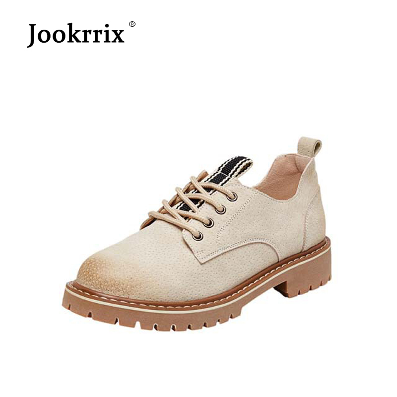 Jookrrix 2018 British Style Retro Shoes Women Fashion Brand Real Leather Flats Lady chaussure Autumn Female footware Breathable