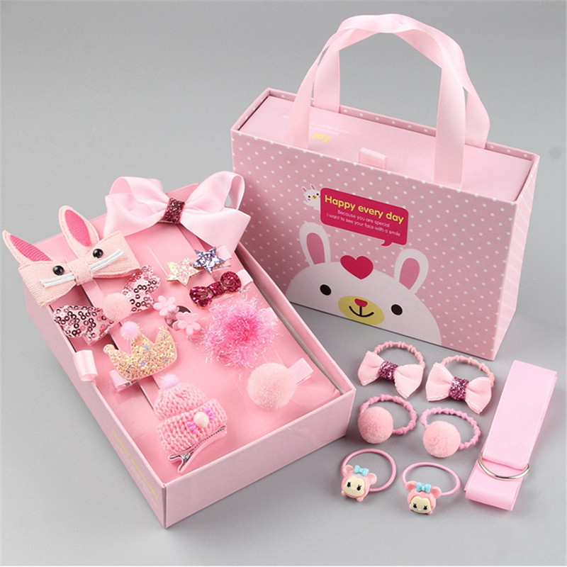 Lovely Kids Baby Girl Cartoon Headwear Hairclip Hairpin With Box Set Barrettes