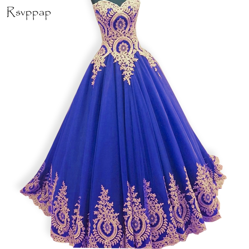 Long Arabic Style Evening Dresses 2017 Puffy Sweetheart Neckline Gold Lace Floor Length Royal Blue Women Formal Evening Gowns