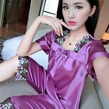 2019 summer sexy silk casual lace pajamas sets for women pyjama girls floral printed sleepwear ladies slim lingerie