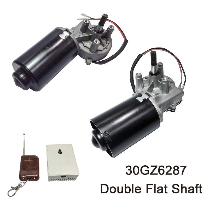 30gz6287 dc 도어 모터 12 v 24 v 50 rpm dc 왼쪽 및 오른쪽 각도 가역 전기 기어 모터 더블 플랫 샤프트와 바베 큐에 대 한