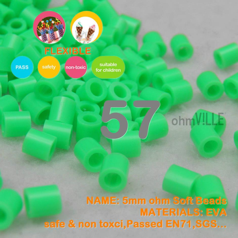 Hot Sale!!! 5mm Soft Flexible Ohm Beads ( Aquamarine Id:57 ) 90 Colors For Choose Hama Beads Activity + Free Shipping