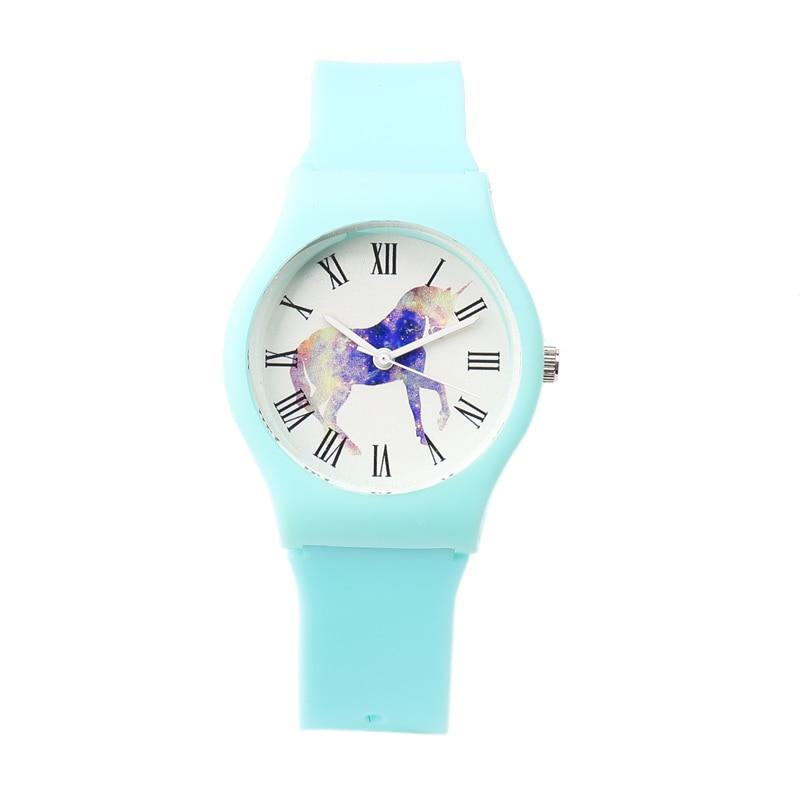 Nya mini Kvinnor Vattentålig sport Flickor Klocka Casual Unicorn Klockor Mode Silikonband Kvarts Mini Kvinna Jelly Watch