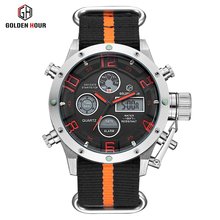 Luxury Brand canvas strap man watch LED dual display military Outdoor Sport Waterproof quartz men watch