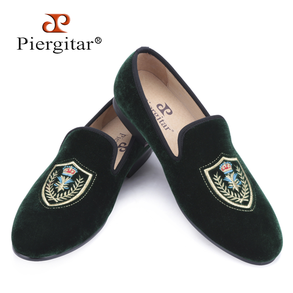 Fashionable Shield embroidered Men Velvet loafer Men wedding and party shoes Men's Flat Size US 4-17 Free shipping luxurious handmade embroidered motif paisley men velvet loafer slippers men wedding and party shoe size 4 14 free shipping