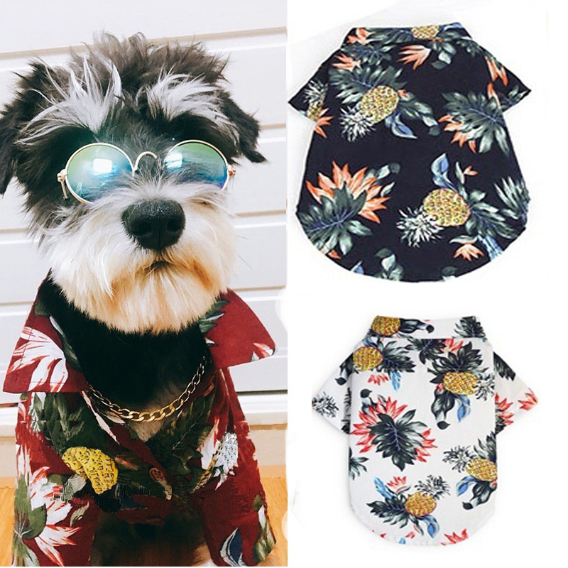 Summer Dog Cat Shirts Beach Vest Cute Print Hawaii Beach Pet Clothing Floral T Shirt For Small Large Dog Chihuahua Frech Fulldog