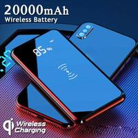 DSstyles 20000mAh Power Bank Qi Wireless Charging Dual USB LED Portable Battery Charger