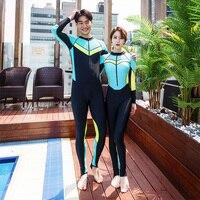 Bright color wet suit women men diving suit solid patchwork couples long sleeves pants one piece diving suit 2018 VERZY new set