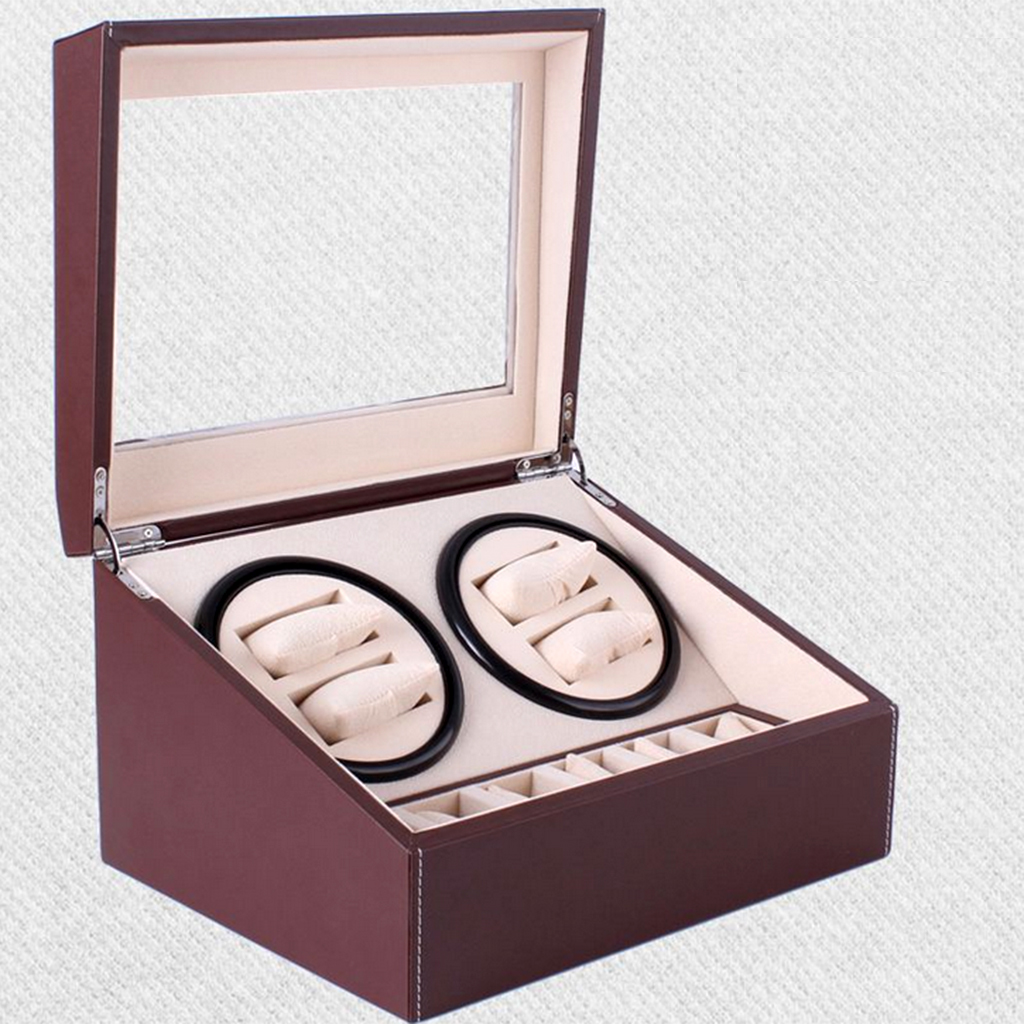 10 Grids Automatic Electric Rotating Watch/Bracelet Storage Display Box -Brown