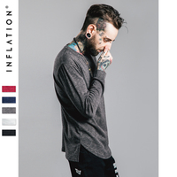 INFLATION Brand Bamboo Cotton O Neck Streetwear Full Sleeve Length T Shirt Men Solid Color Hip