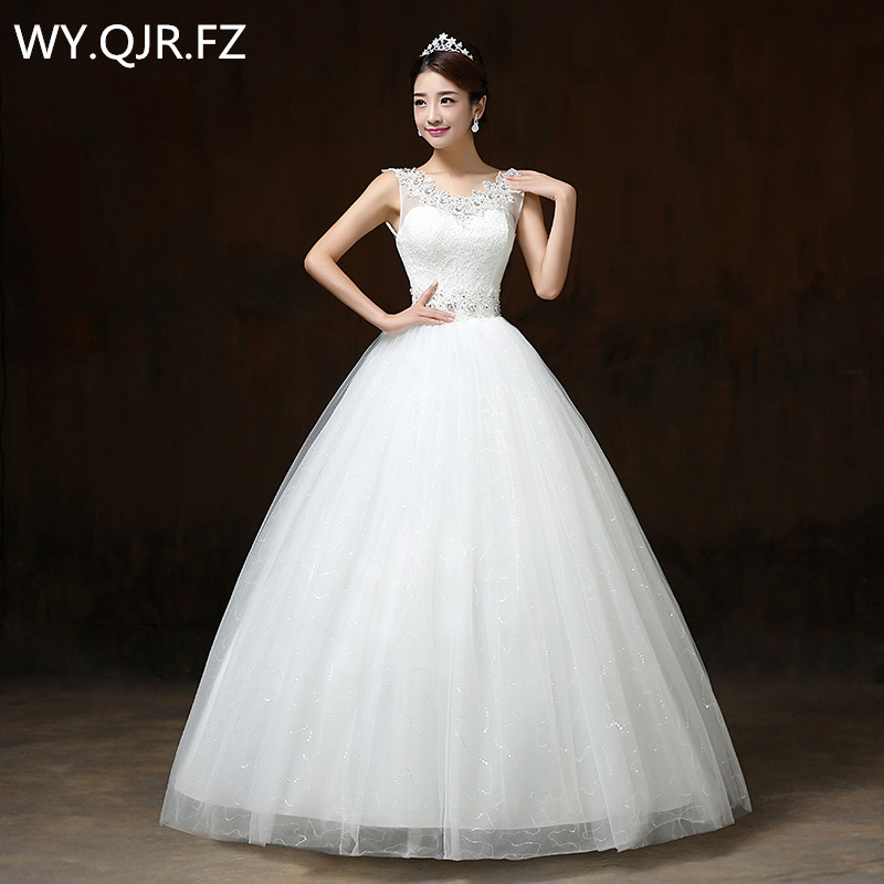Lygh65 2017 new dresses factory shoulder lace up flower shoulder bride wedding gown customize plus size