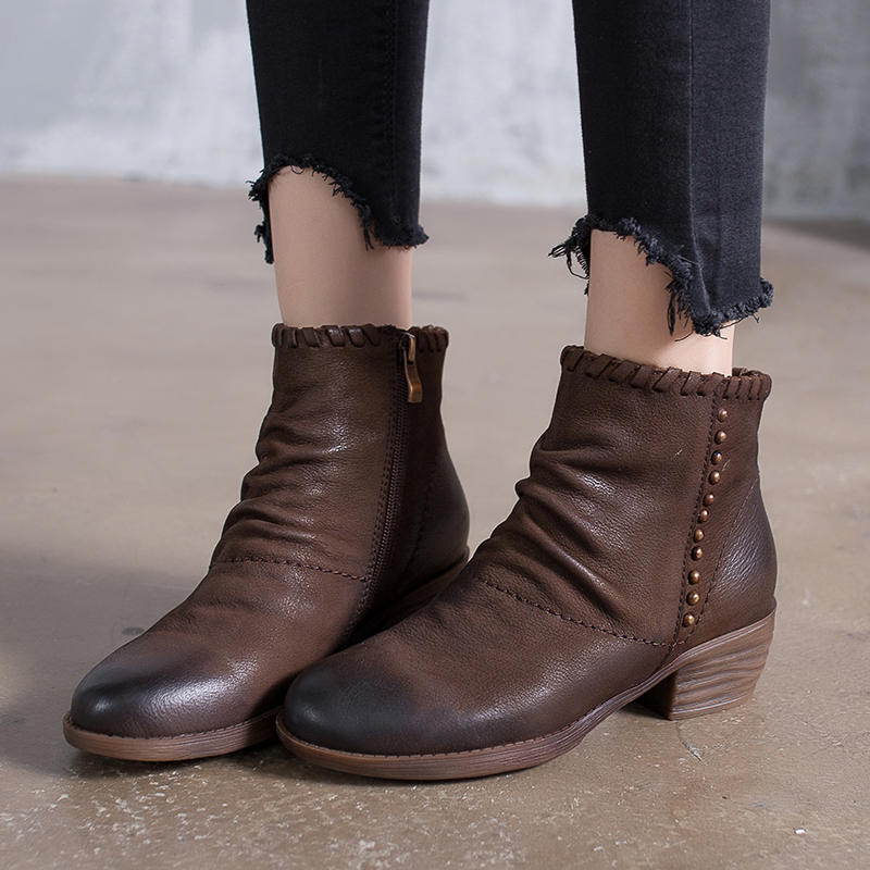 купить 2018 VALLU Autumn Leather Shoes Women Boots Ankle Boots Pleated Rivet Handmade Vintage Side Zipper Ladies Booties недорого