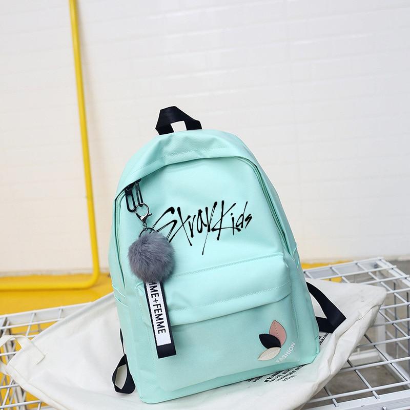 Mais novo stray kids dezessete ikon bangtan meninos bookbag voltar pacote txt mochila saco de escola pacote para adolescente