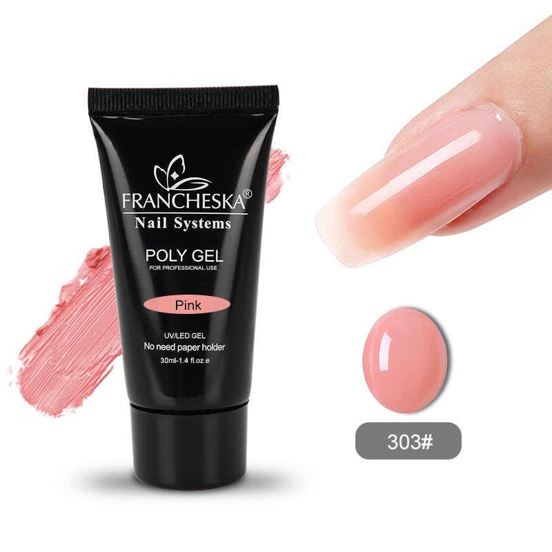 HOT KOOP poly gel 100% real polygel jelly builder vinger Extension UV LED gel nagellak vernis poli gel roze white clear 30g