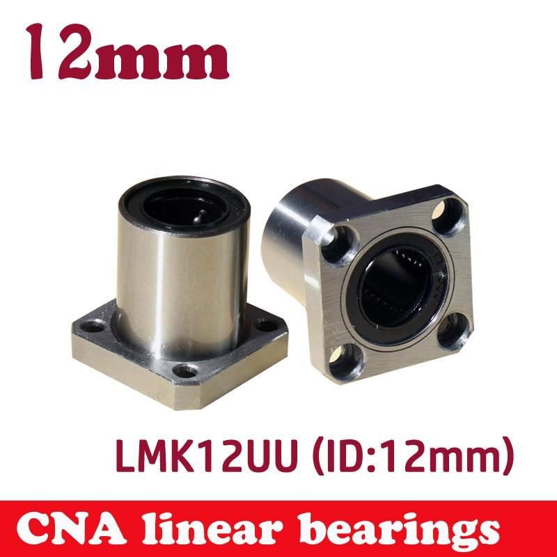 все цены на Hot sale 1pc LMK12UU 12mm flange linear bearing CNC Flange Linear Bush онлайн