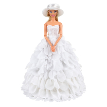 цены Evening Party Wedding Lace Baby Doll Long Tail Gift Present Clothes Set For Barbie Outfit Costumes Girls Accessories Doll Dress