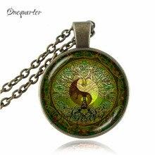 Yin yang necklace tree of life jewelry glass cabochon pendants antique bronze chain ying yang choker neckless women jewellery