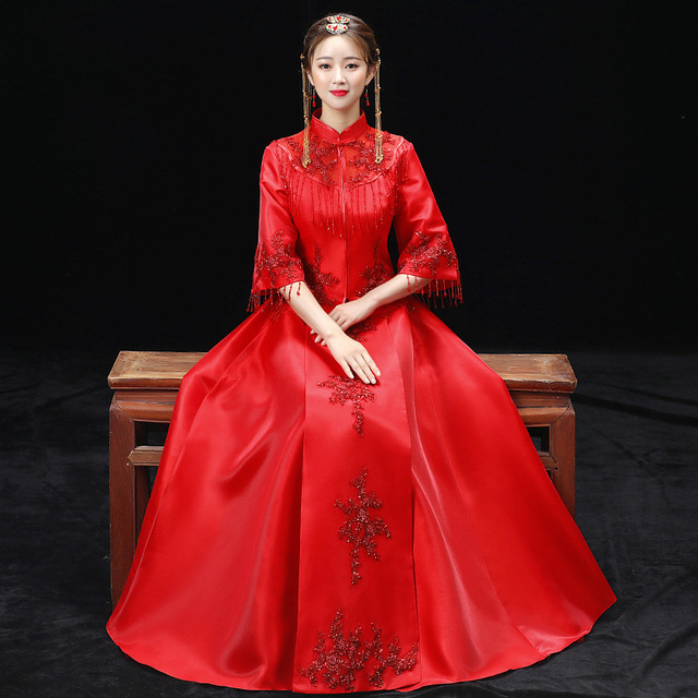 Red Wedding Dress Traditional Chinese Qipao National Costume Womens