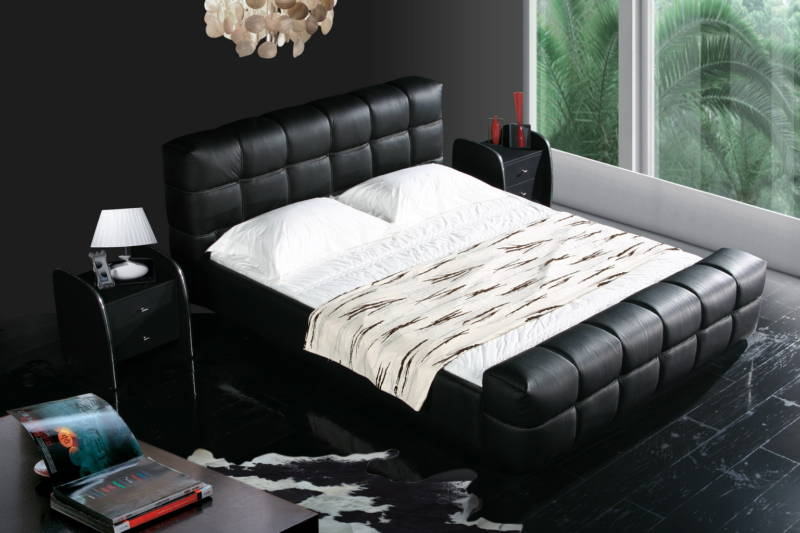 Black Color Real Genuine Leather Bed / Soft Bed/double Bed King Size Bedroom Home Furniture Modern+ 2 Night Stand