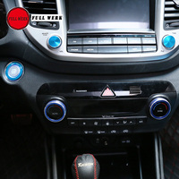 Car Air Conditioning Heat Control Switch Knob for New Tucson Volume Decoration Engine Start Stop Button Sticker Cover Set of 5pc