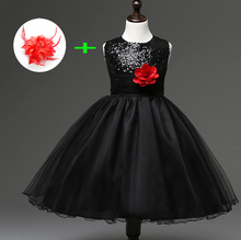 Polyester Toddler Baby Kids Sequin Prom Party Dresses for Little Girls Red Sky Blue Grey Champagne Black Dresses with Flowers