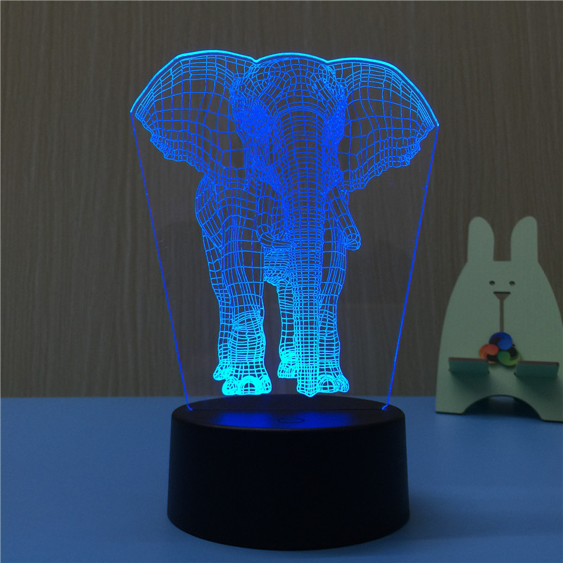 Lovely Elephant Night Light Lamp 3Color Changing 3D LED Lamp Party Decor Wedding Decor Kids Gift Red Blue Purple Color EU US