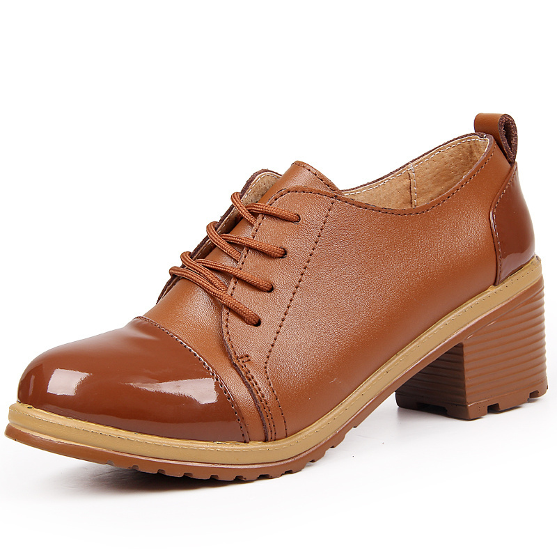 Vintage British Style Round Toe Lace Up Oxford Shoes For Women Fashion WoMen Oxfords Ladies Genuine Leather Casual Flat Shoes new 2015 autumn flat t strap oxford shoes for women vintage british style round toe low thick heels women oxfords shoes woman