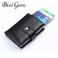 BISI GORO 2018 Men And Women Genuine Leather Credit Card Case Pocket Box Business ID Card