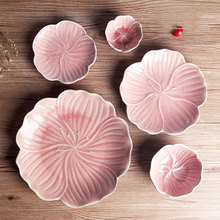 5pcs/set Pink flower petal plate dishes fruit tray salad bowl snack tray food plates dinnerware sets