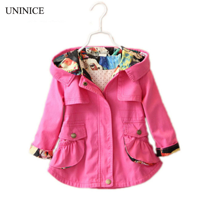 2 7t 2017 spring autumn girls jacket childrens clothing girl trench coat owl printing kids - Printing With Children