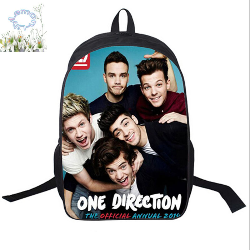 16Inch One Direction Backpack Double Zipper Backpack Mochila Masculina Schoolbag Mochila Escolar Teenage Kid Free Shipping A088 one direction one direction made in the a m 2 lp